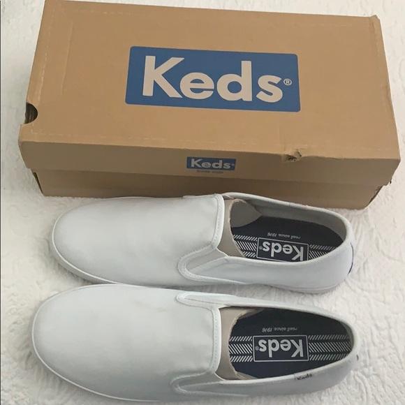 White Canvas Keds Slip On Shoes Men